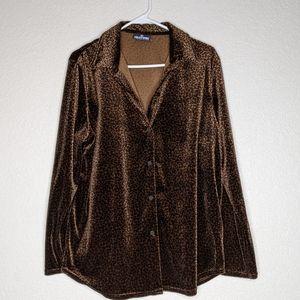 Velvet, leopard print, button up sleep top (d)